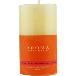 ONE 2.75x5 inch PILLAR AROMATHERAPY CANDLE.  COMBINES THE ESSENTIAL OILS OF ORANGE