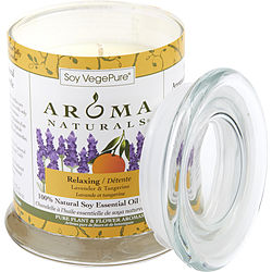 ONE 3.7x4.5 inch MEDIUM GLASS PILLAR SOY AROMATHERAPY CANDLE.  COMBINES THE ESSENTIAL OILS OF LAVENDER AND TANGERINE TO CREATE A FRAGRANCE THAT REDUCES STRESS.  BURNS APPROX. 45 HRS