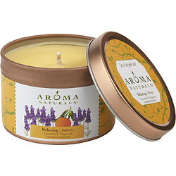 ONE 2.5x1.75 inch TIN SOY AROMATHERAPY CANDLE.  COMBINES THE ESSENTIAL OILS OF LAVENDER AND TANGERINE TO CREATE A FRAGRANCE THAT REDUCES STRESS.  BURNS APPROX. 15 HRS