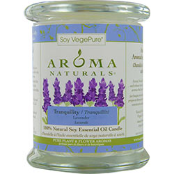ONE 3.7x4.5 inch MEDIUM GLASS PILLAR SOY AROMATHERAPY CANDLE.  THE ESSENTIAL OIL OF LAVENDER IS KNOWN FOR ITS CALMING AND HEALING BENEFITS.  BURNS APPROX. 45 HRS.