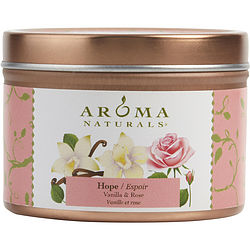 ONE 2.5x1.75 inch TIN SOY AROMATHERAPY CANDLE. COMBINES THE ESSENTIAL OILS OF VANILLA & ROSE. BURNS APPROX. 15 HRS.